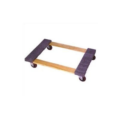 "Wesco Manufacturing Open Deck Wood Dolly with 4"" Casters and Carpet Ends"