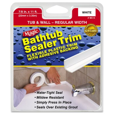 "Magic 7/8"" White Tub & Wall Bathtub Sealer Trim MC156T"