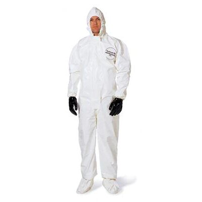 DuPont White Tychem® SL Chemical Protection Coveralls With Bound Seams, Storm Flap Over Front Zipper Closure, Attached Hood, Attached Sock Boots, Elastic Face And Elastic Wrists