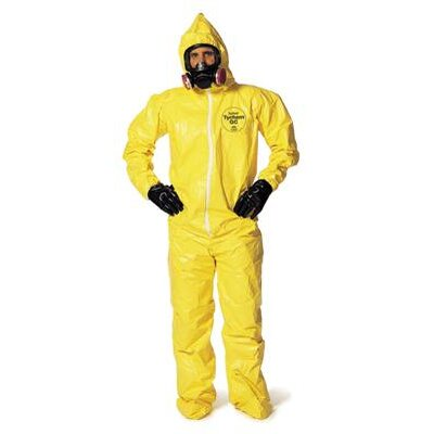DuPont Yellow Tychem® QC Chemical Protection Coveralls With Bound Seams, Front Zipper Closure, Attached Hood, Attached Sock Boots, Elastic Face And Elastic Wrists