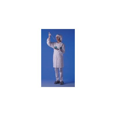 DuPont White Serged Seams Front Snap Closure Lab Coat With Two Pockets Elastic Wrist And Collar Size Large