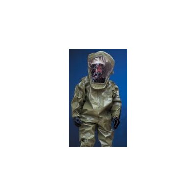 DuPont Tychem® CPF4 Green Coverall With Zipper Front Attached Hood, Sock Boots With Elastic Wrists And Face