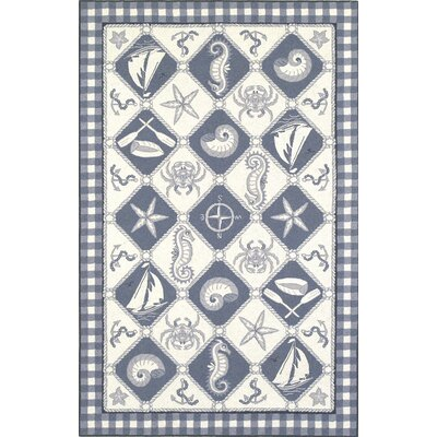 KAS Oriental Rugs Colonial Blue/Ivory Nautical Novelty Rug