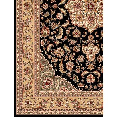 KAS Oriental Rugs Kashan Cambridge Black/Beige Medallion Rug