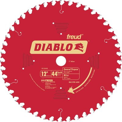 "Freud 12"" 44T Diablo™ General Purpose Chop/Slide  Miter Saw Blade  D1244X"