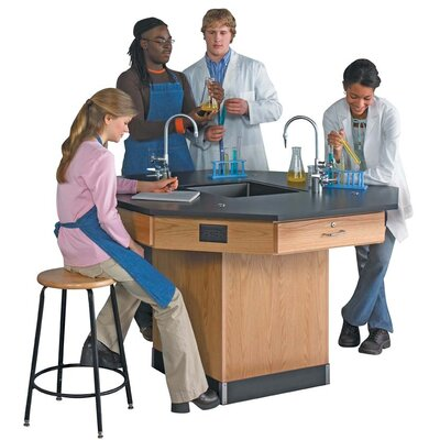 Diversified Woodcrafts Octagon Workstation with Pedestal Base and Gas/Water Fixtures