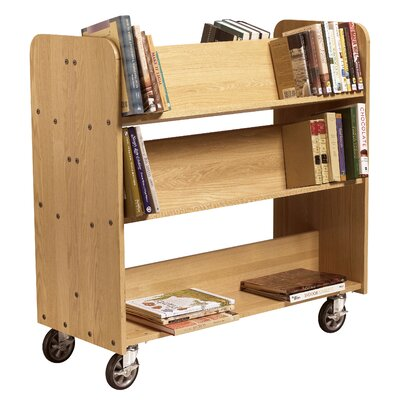 "Diversified Woodcrafts 11"" Solid Oak Book Truck With 4 Sloped & 1 Flat Shelf"