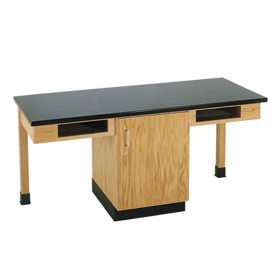 Diversified Woodcrafts 2 Station Science Table With Storage Cabinet & Book Compartments