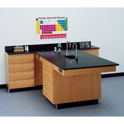 Diversified Woodcrafts Perimeter Workstation With 4 Drawers, Sink & Fixtures