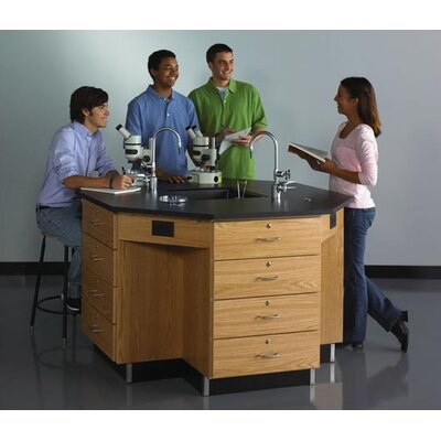 "Diversified Woodcrafts 54"" Wide Octagon Workstation With Drawer Base"