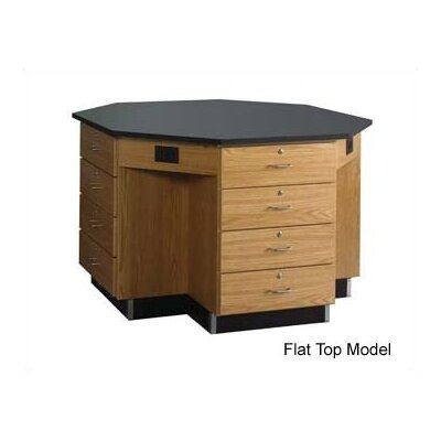 "Diversified Woodcrafts 60"" Wide Octagon Workstation With Drawer Base"