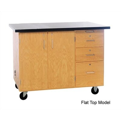 "Diversified Woodcrafts Mobile Instructor's Desk With Drawers and Center Storage, 48""W x 28""D x 36""H"