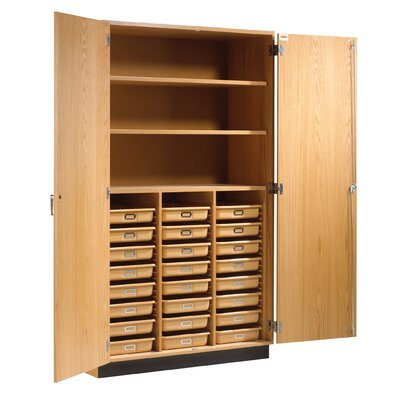 "Diversified Woodcrafts 84"" H x 48"" W x 22"" D Tote Tray and Shelving Storage Cabinet"