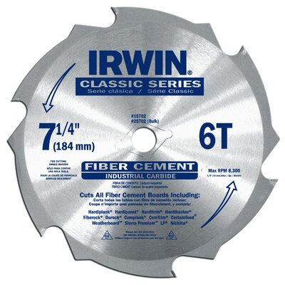"Irwin 7-1/4"" 6-Tooth Fiber Cut Cement Board Saw Blade  15702"