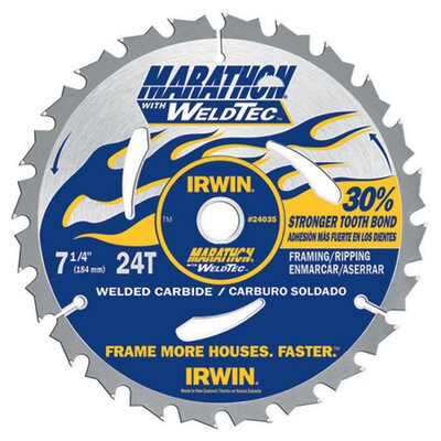 "Irwin 7-1/4"" 24 TPI Marathon® With WeldTec Circular Saw Blade 24"