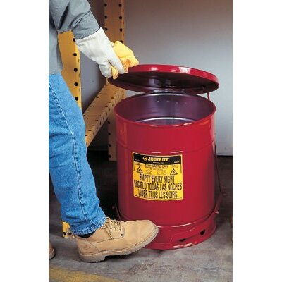 Justrite Red Oily Waste Cans - oily waste can10 gal w/ha