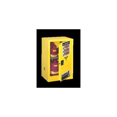 "Justrite X 23 1/4"" X 18"" Yellow 15 Gallon Compac Sure-Grip® EX Safety Cabinet With 1 Manual Door And 1 Shelf"