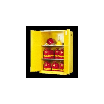 "Justrite X 36"" X 24"" Yellow 30 Gallon Sure-Grip® EX Safety Cabinet For Flammables With 2 Manual Doors And 1 Shelf"