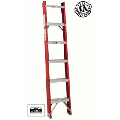 Louisville Ladder FH1000 Series Classic Fiberglass Shelf Ladders - 6' fiberglass classic shelf ladder