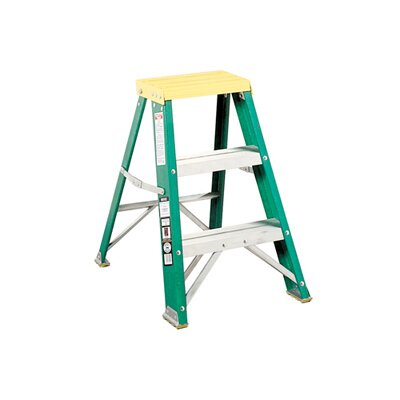 Louisville Ladder 624 Folding Fiberglass Two-Step Stool in Yellow / Green