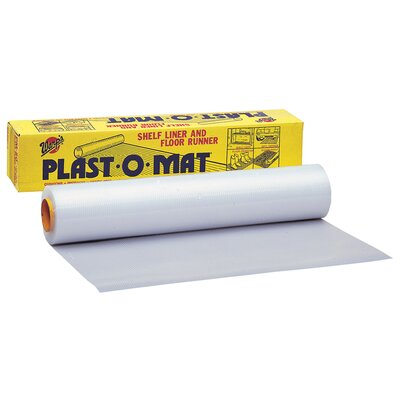 "Warps 30"" X 50' Opaque White Plast-O-Mat® Ribbed Flooring Runner Roll PM"