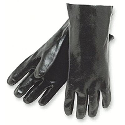 "Memphis Glove Economy Dipped PVC Gloves - 14"" gauntlet interlock lined smooth fini"