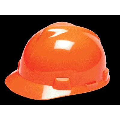 MSA Orange V-Gard® Class E, G Type I Polyethylene Standard Slotted Hard Cap With Fas-Trac® Suspension