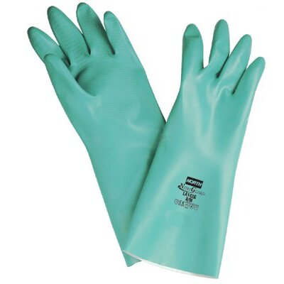 "North Safety NitriGuard Unsupported Nitrile Gloves - green nitrile nitri-guard glove 15mil 13"" large"