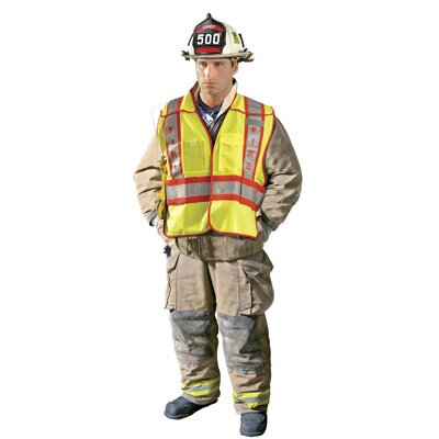 OccuNomix - Large Hi-Viz Yellow ANSI Tricot Fabric Public Safety Fire Vest With 3M™ 2 Tone Scotchlight™ Relfective Stripes