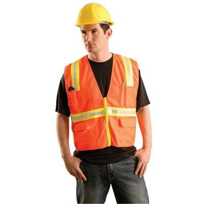 OccuNomix Hi-Viz Orange Non ANSI Woven Twill Polyester Surveyor's Vest With Mesh Back And Two-Tone Trim