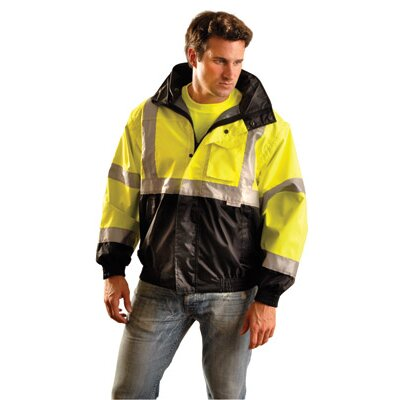 OccuNomix Hi-Viz Yellow And Black PVC Coated Polyester ANSI Class 3 Occulux Bomber Jacket With 3M™ Reflective Strpes And Nylon Lining