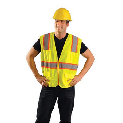 OccuNomix Hi-Viz Yellow Non ANSI Woven Twill Polyester Surveyor's Vest With Mesh Back And Two-Tone Trim