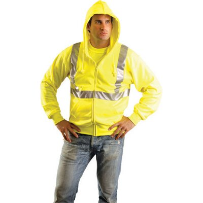 OccuNomix Hi-Viz Yellow Polyester/Cotton Class 2 Lightweight Hooded Sweatshirt With Reflective Stripes, Zipper Front Closure And 2 Pockets