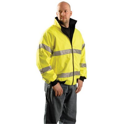 OccuNomix Yellow Polyurethane Coated Polyester And Black Polyester Fleece Class 3 Reversible Cold Weather Jacket With 3M™ Scotchlite™ Reflective Stripes, Roll-Away Hood, Front Zipper CLosure And 4 Pockets