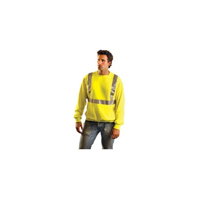 OccuNomix Hi-Viz Yellow Cotton/Polyester ANSI Class 2 Light Weight Crewneck Sweatshirt