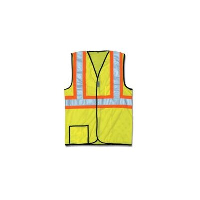 "OccuNomix Large OccuLux® HiVis Yellow 2Tone Cool Mesh Vest W/2"" Wide Hrzntl Stripes & 2"" Wide Vertical Shoulder Stripes"