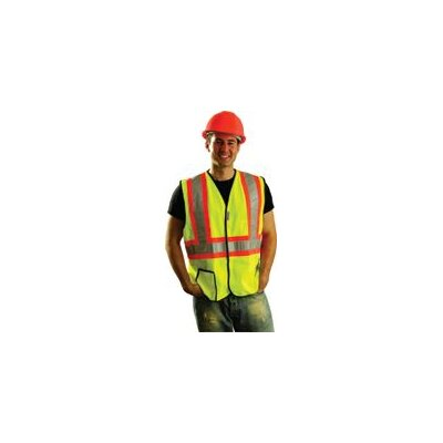 OccuNomix Large Two Tone OccuLux® High Visibility Fluorescent Yellow Vest With 3M™ Scotchlite™ Reflective Tape Trimmed, Trimmed In Bright Orange