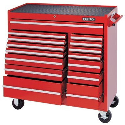 Proto 440SS Work Stations - red 15 drawer workstation 41x42""