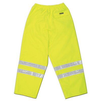 "River City Hi-Viz Lime Luminator PRO Grade Polyester Class III Rain Pants With Taped Seams, Drawstring Closure, Expandable Ankle Gussets, Side Pockets, Back Zipper Pocket With Velcro Storm Flap And 2"" White Vinyl Series Reflective Stripes"
