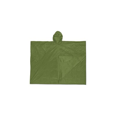 River City Size Fits All O.D. Green Schooner 0.1 mm PVC Rain Poncho With Welded Seams, Snap Closure And Attached Hood