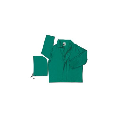 River City Green Dominator II 0.42 mm Polyester Flame Retardant Chemcial Resistant Jacket With Welded Seams, Detachable Drawstring Hood, With Inner Sleeves, Plain Back, And No Underarm Vents