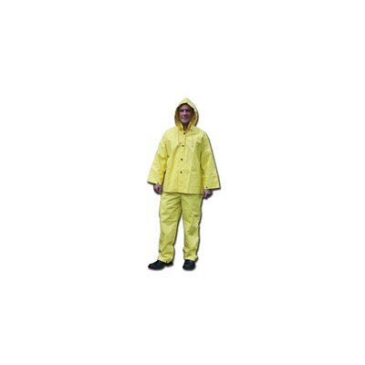 River City Yellow 0.28 mm Nylon Rain Suit With Welded Seams, Storm Flap Over Snap Front Closure, Detachable Drawstring Hood, Snap Wrists, Ankles and Waist, Reinforced Crotch, Plain Back, No Pocket,And Elastic Insert Adjustable Suspenders