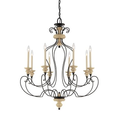Shelby 8 Light Chandelier in Sand Bisque and Earth Black