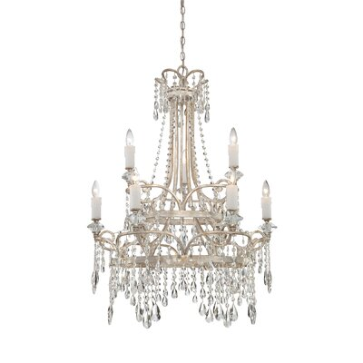Tricia 9 Light Chandelier in Vintage Silver