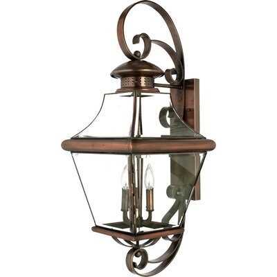 "Quoizel 34.5"" Carleton Outdoor  Wall Lantern in Aged Copper"