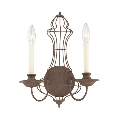 Quoizel Laila Two Light Wall Sconce in Rustic Antique Bronze