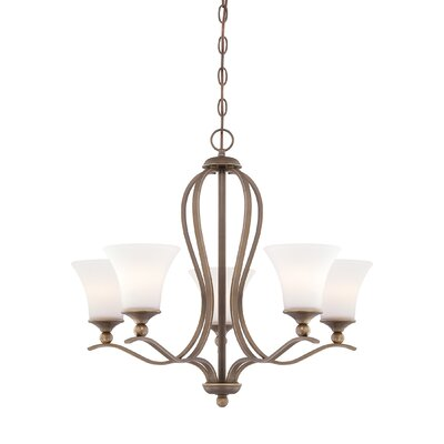 Sophia Five Light Chandelier in Palladian Bronze