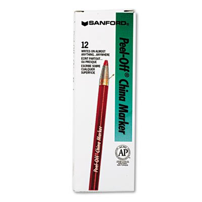 Sharpie® Peel-Off China Markers, Red, Dozen