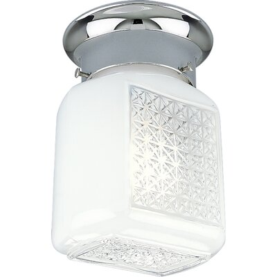 Progress Lighting Polished Chrome White Glass  Wall Sconce