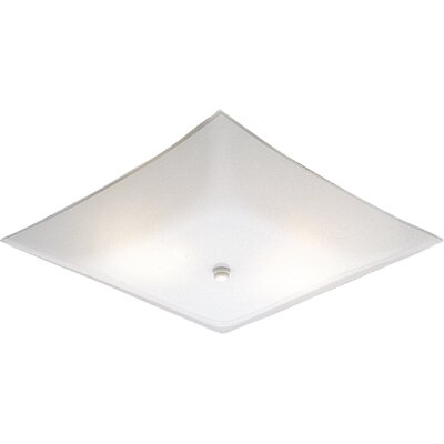 Progress Lighting Square White Glass Semi Flush Mount